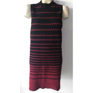 NIC+ZOE Dresses - NIC + ZOE RED BLACK STRIPED TEXTURED SHEATH DRESS